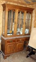 Ethan Allen lighted Two Piece China Cabinet 80in x 54in x 19 5in  Contents Not Included
