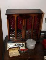 Two Door Jewelry Cabinet  Including Assorted Necklaces  Earrings  Cuff Bracelets  Trinket Boxes  And More