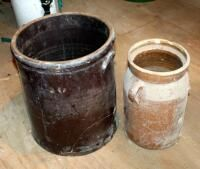 5 Gallon Pottery Crock And 2 Gallon Crock  Both Have Some Damage