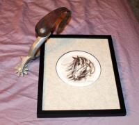 Framed Matted Under Glass Pen Horse Sketch  Signed By Artist  10 75in X 8 75in  And Aluminum Spur