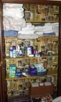 Bath Sheets  Towels  Washcloths  Household Cleaning Supplies  Hair Products  And More  Contents of Closet