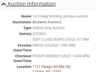 02/05 Monthly antique auction