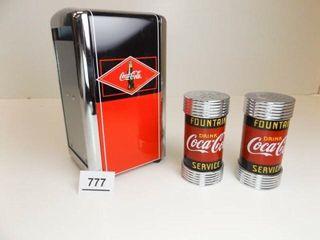 Coca Cola Napkin Holder  Salt   Pepper