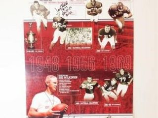 OU Football  1948 69 Poster  with 4 Signatures