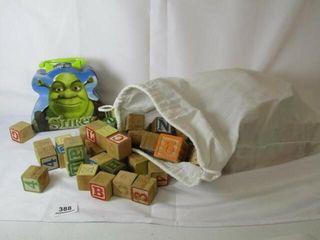Bag of wood blocks and Shrek Tin