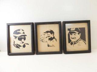 Nascar Drivers Wood Cut Art  Framed  3  11  x 9