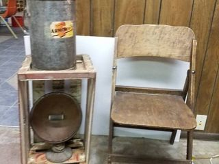 Vintage Folding Wood Chair  crate  heater and a tall metal can