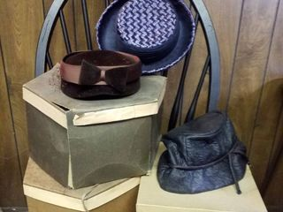 3 vintage hats and 3 hat boxes   Chair not included