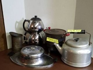 vintage coffee pot  tea kettle  waffle iron  popcorn popper and measuring tin    coffee pot has no cord