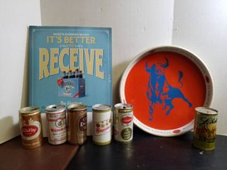 schlitz tray  cardboard beer advertisement and 6 cans