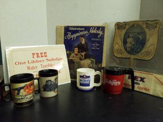 4 plastic coffee cups  old coffee advertising sign  bakers paper hat and other advertising