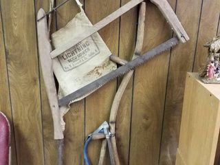 Vintage Sickle  weed whacker  seed bag and 2 saws