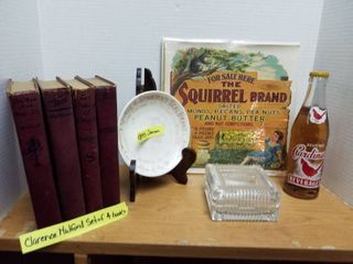 Clarence Mulford set of 4 books  1893 plate  Trinket box  advertising and a Cardinal soda bottle   plate rack not included