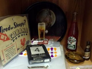 Beer tray  bread sacks  advertising top  ashtray  bottles and more