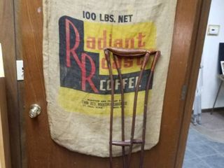 100 lbs  coffee sack and crutches