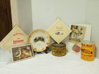 2 coffee cans  advertising coffee plate  napkins and paper goods