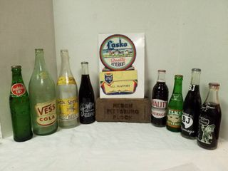 8 Vintage soda bottles  Brick  and advertising