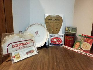 Advertising coffee plate  metal coffee tin and other advertisement pieces
