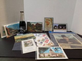 Blue bird soda bottle  Hopalong Cassiday picture  post card books  stamps and 2 small advertising calendars