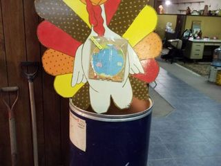 large barrel  large wooden turkey and Flamingo coffee advertising map