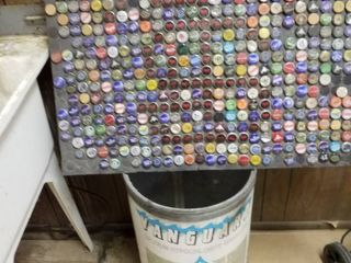 Barrel  5 soda bottles and beer bottle caps