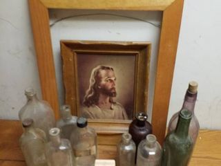 Jesus picture  old bottles and cigarette case