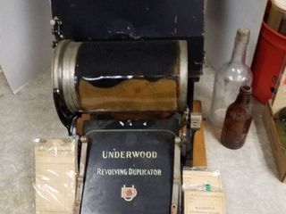 Underwood Revolving Duplicator  2 bottles and 3 receipt books