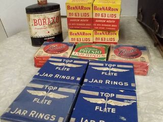 Top Flight jar rings  Bernardin lids  63  Ball jar rubbers  1 Kerr lid box and Presto jar rings