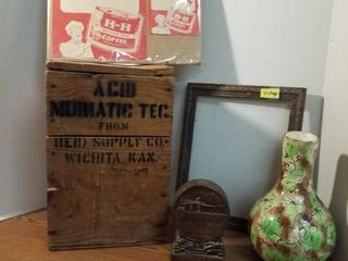 Muriatic acid wood box  Wichita Federal bank coin bank  file  frame and advertising