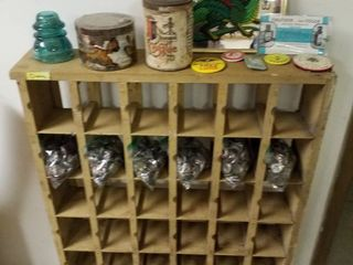 Wood Display  pins  coffee cans  insulator  Dragon mirror picture  beer caps and more