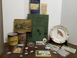 Collier s World Atlas  3 postcards  15 political pins  coffee advertising plate  2 coffee cans and a thermometer