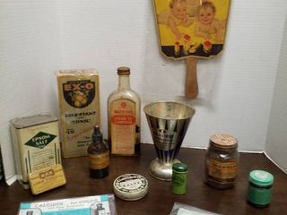 Medicine bottles  tins  tablets  advertising  fan and more