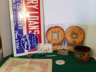 Advertising lighter  coffee glass paperweight  coffee pin  Maxwell house menu and more