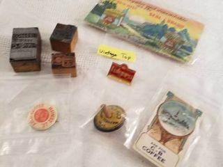 Coffee toy top  pin  stamps  sewing kit and more