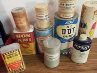 10 vintage antique powder cans