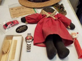 vintage skimmer hat  doll  Dick Tracy watch  baby brush comb and more