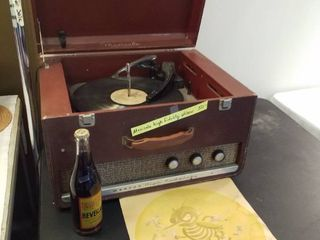 Musicals High Fidelity Webcor record player  Don t be a litterbug sign and a soda bottle