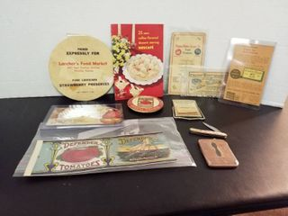 vintage advertising mirror  calendar  pocket knife  knife sharpener  labels and paperwork