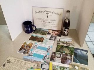 postcards  Brownie soda bottle  mug and advertising