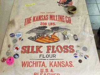 200 lb  flour sack from Wichita and pins