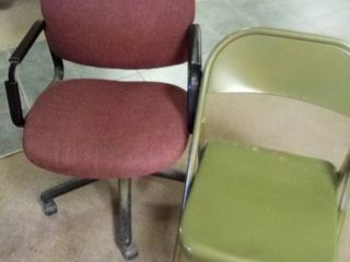 Rolling Office chair and metal folding chair
