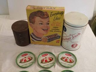 Cracker Jack Tin  Payday Empty Box and Steffens Metal Cottage Cheese lids