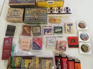 Vintage toothpicks  bottle caps  matches and lighters
