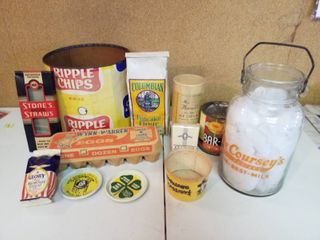 12  vintage empty food containers and glass milk bottle