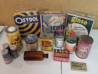 15  Vintage cleaning supply containers