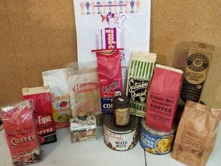 vintage coffee bags and peanut cans and more
