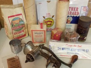 vintage kitchen misc  baking cups  empty flour bags  meat grinder and more