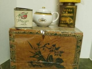 wooden tea box  2 tea tins  box of Royal teas and tea pot
