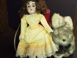 Antique doll  broken finger  metal doll chair and stuffed bunny
