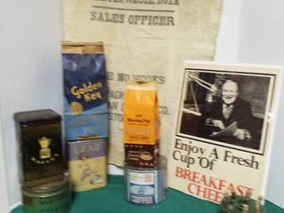 Advertising coffee assortment  including coffee beans and holder  one full can of coffee